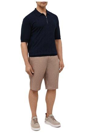 Мужские льняные шорты ZILLI SPORT коричневого цвета, арт. M0V-D0171-LIN01/S001   Фото 2