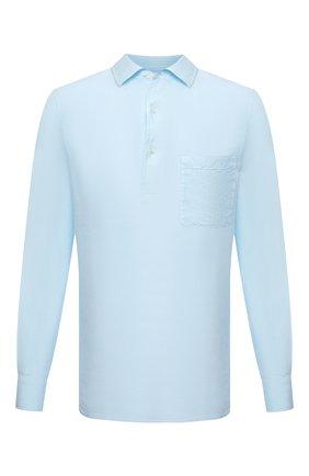 Мужская льняная рубашка LORO PIANA голубого цвета, арт. FAL6150 | Фото 1 (Рукава: Длинные; Принт: Однотонные; Случай: Повседневный; Материал внешний: Лен; Длина (для топов): Стандартные; Манжеты: На пуговицах; Стили: Кэжуэл; Воротник: Кент)
