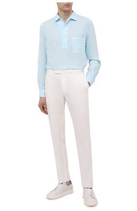 Мужская льняная рубашка LORO PIANA голубого цвета, арт. FAL6150 | Фото 2 (Рукава: Длинные; Принт: Однотонные; Случай: Повседневный; Материал внешний: Лен; Длина (для топов): Стандартные; Манжеты: На пуговицах; Стили: Кэжуэл; Воротник: Кент)