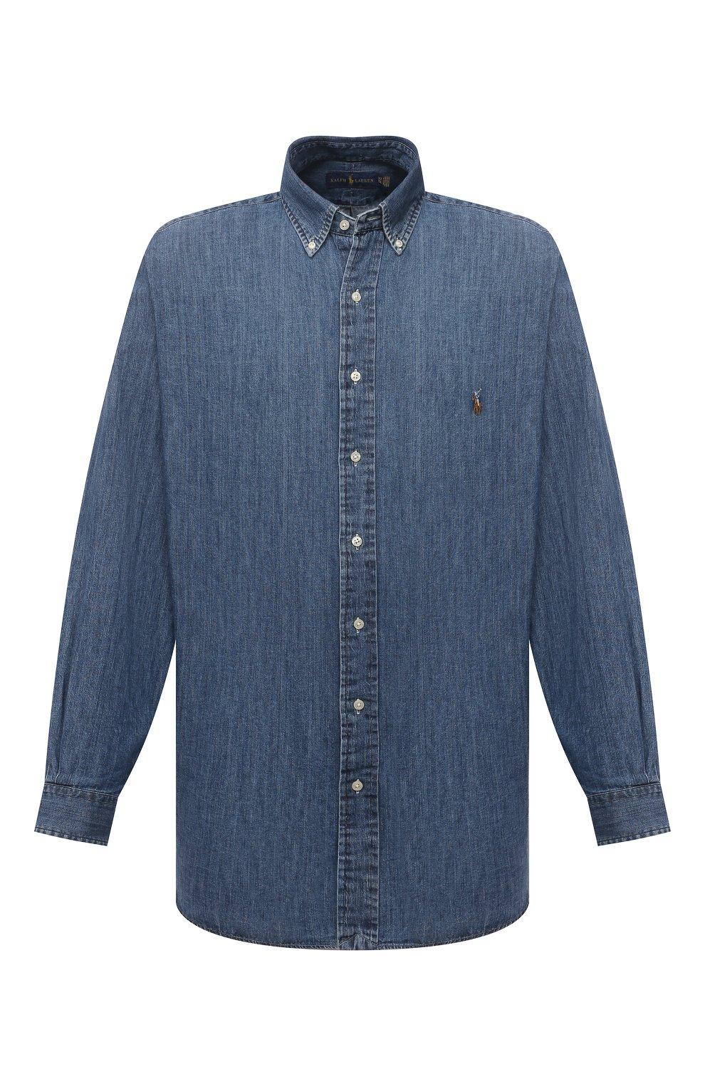 Мужская джинсовая рубашка POLO RALPH LAUREN синего цвета, арт. 711796672/PRL BS | Фото 1 (Манжеты: На пуговицах; Воротник: Button down; Big sizes: Big Sizes; Рукава: Длинные; Кросс-КТ: Деним; Случай: Повседневный; Длина (для топов): Удлиненные; Материал внешний: Хлопок; Принт: Однотонные; Стили: Кэжуэл)