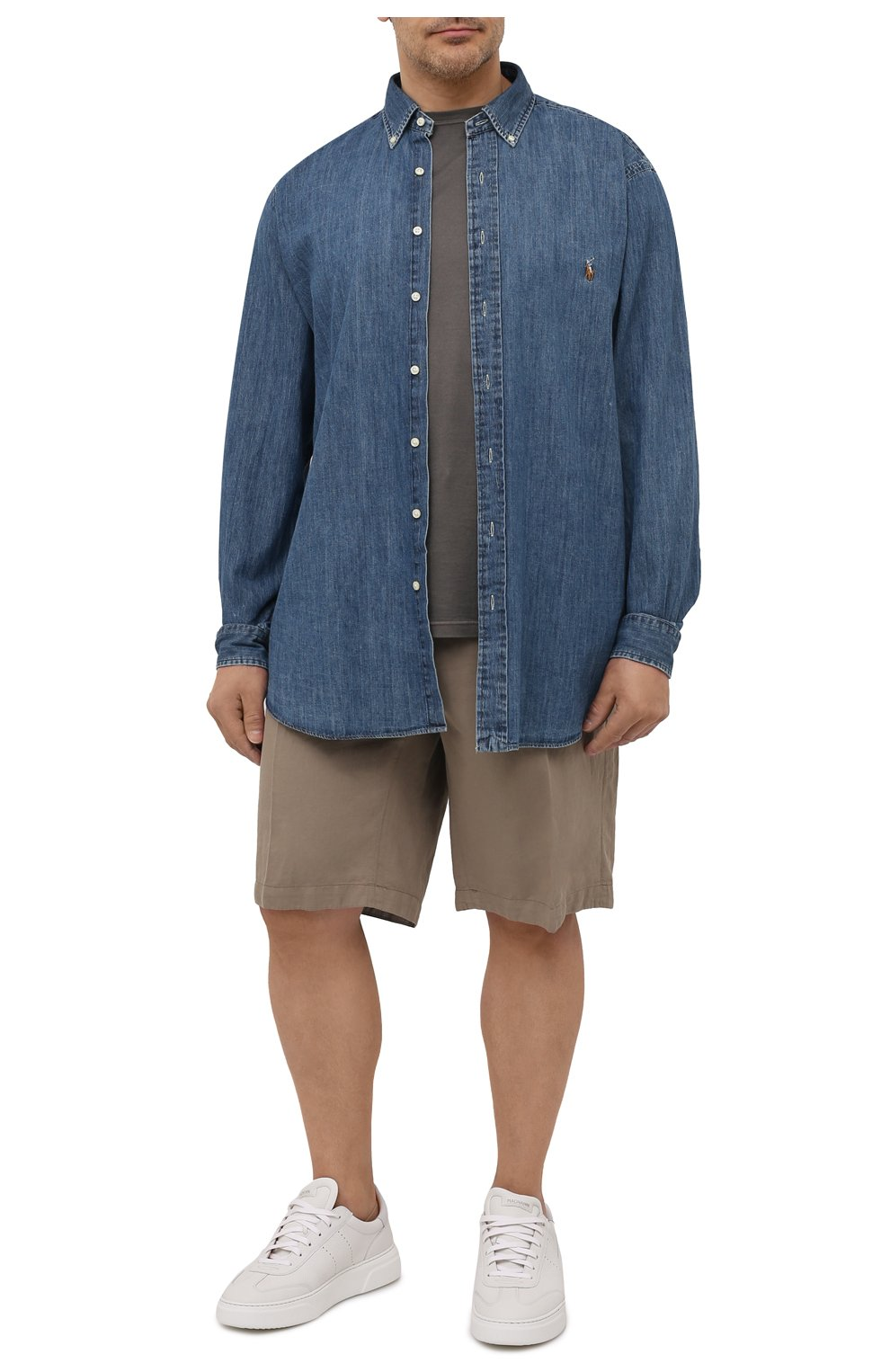 Мужская джинсовая рубашка POLO RALPH LAUREN синего цвета, арт. 711796672/PRL BS | Фото 2 (Манжеты: На пуговицах; Воротник: Button down; Big sizes: Big Sizes; Рукава: Длинные; Кросс-КТ: Деним; Случай: Повседневный; Длина (для топов): Удлиненные; Материал внешний: Хлопок; Принт: Однотонные; Стили: Кэжуэл)