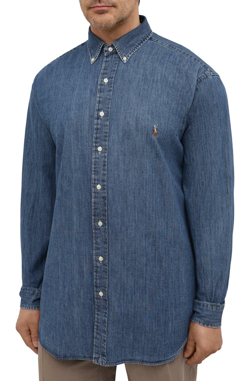 Мужская джинсовая рубашка POLO RALPH LAUREN синего цвета, арт. 711796672/PRL BS | Фото 3 (Манжеты: На пуговицах; Воротник: Button down; Big sizes: Big Sizes; Рукава: Длинные; Кросс-КТ: Деним; Случай: Повседневный; Длина (для топов): Удлиненные; Материал внешний: Хлопок; Принт: Однотонные; Стили: Кэжуэл)