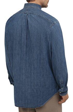 Мужская джинсовая рубашка POLO RALPH LAUREN синего цвета, арт. 711796672/PRL BS | Фото 4 (Манжеты: На пуговицах; Воротник: Button down; Big sizes: Big Sizes; Рукава: Длинные; Кросс-КТ: Деним; Случай: Повседневный; Длина (для топов): Удлиненные; Материал внешний: Хлопок; Принт: Однотонные; Стили: Кэжуэл)