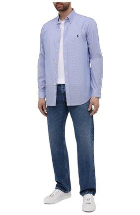 Мужская хлопковая рубашка POLO RALPH LAUREN синего цвета, арт. 710792044/2866 | Фото 2