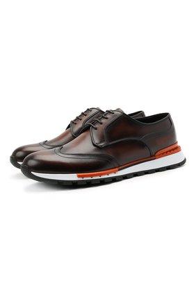 Мужские кожаные кроссовки BERLUTI темно-коричневого цвета, арт. S5542-001 | Фото 1