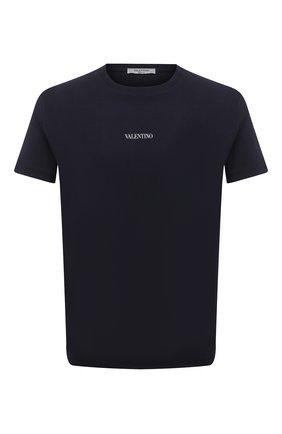 Мужская хлопковая футболка VALENTINO синего цвета, арт. WV3MG10V738 | Фото 1 (Материал внешний: Хлопок; Стили: Кэжуэл; Рукава: Короткие; Принт: Без принта; Длина (для топов): Стандартные)