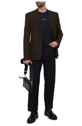 Мужская хлопковая футболка VALENTINO синего цвета, арт. WV3MG10V738 | Фото 2 (Материал внешний: Хлопок; Стили: Кэжуэл; Рукава: Короткие; Принт: Без принта; Длина (для топов): Стандартные)