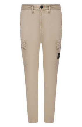 Мужские хлопковые брюки-карго STONE ISLAND бежевого цвета, арт. 741530504 | Фото 1