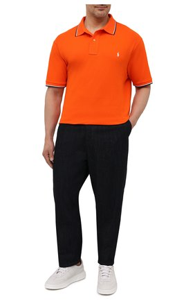 Мужское хлопковое поло POLO RALPH LAUREN оранжевого цвета, арт. 711842621/PRL BS | Фото 2