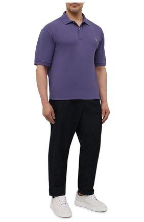 Мужское хлопковое поло POLO RALPH LAUREN фиолетового цвета, арт. 711680784/PRL BS | Фото 2