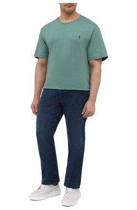 Мужская хлопковая футболка POLO RALPH LAUREN зеленого цвета, арт. 711671438/PRL BS | Фото 2 (Принт: Без принта; Материал внешний: Хлопок; Стили: Кэжуэл; Рукава: Короткие; Длина (для топов): Удлиненные; Big sizes: Big Sizes)