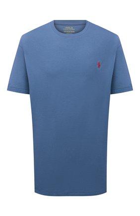 Мужская хлопковая футболка POLO RALPH LAUREN синего цвета, арт. 711671438/PRL BS   Фото 1 (Рукава: Короткие; Принт: Без принта; Big sizes: Big Sizes; Материал внешний: Хлопок; Стили: Кэжуэл)