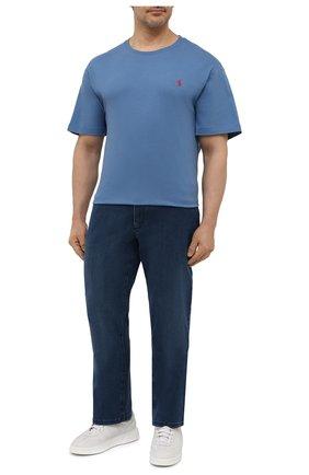 Мужская хлопковая футболка POLO RALPH LAUREN синего цвета, арт. 711671438/PRL BS   Фото 2 (Рукава: Короткие; Принт: Без принта; Big sizes: Big Sizes; Материал внешний: Хлопок; Стили: Кэжуэл)