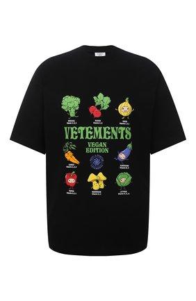Мужская хлопковая футболка VETEMENTS черного цвета, арт. UA52TR380B 1611/M | Фото 1