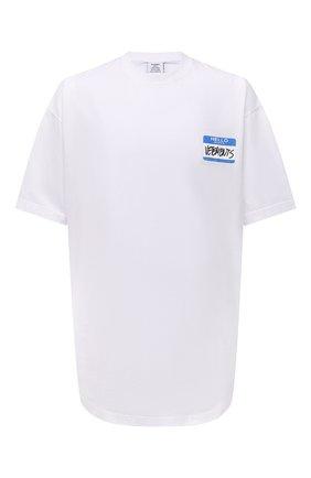 Мужская хлопковая футболка VETEMENTS белого цвета, арт. UA52TR330W 1602/M | Фото 1