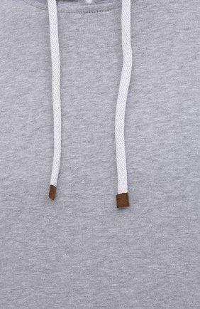 Мужской хлопковое худи BRUNELLO CUCINELLI серого цвета, арт. MTU149007G | Фото 5