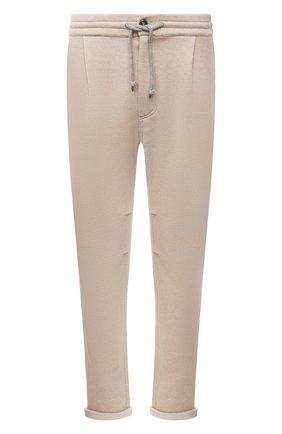 Мужские кашемировые брюки BRUNELLO CUCINELLI бежевого цвета, арт. MTU063353G   Фото 1