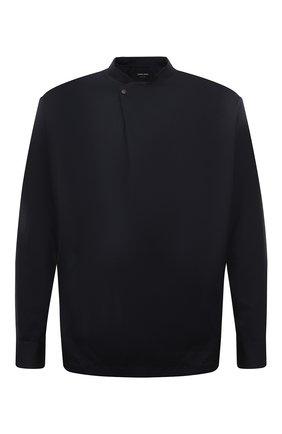 Мужская хлопковая рубашка GIORGIO ARMANI темно-синего цвета, арт. 1WGCCZ72/TZ069 | Фото 1 (Материал внешний: Хлопок; Манжеты: На кнопках; Длина (для топов): Стандартные; Стили: Кэжуэл; Рубашки М: Regular Fit; Случай: Повседневный; Воротник: Мандарин; Рукава: Длинные)