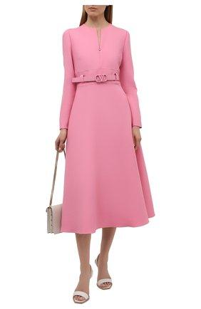 Женское платье из шерсти и шелка VALENTINO розового цвета, арт. WB3VAW621CF   Фото 2 (Рукава: Длинные; Стили: Романтичный; Материал внешний: Шелк, Шерсть; Женское Кросс-КТ: Платье-одежда; Длина Ж (юбки, платья, шорты): Миди; Материал подклада: Вискоза; Случай: Формальный)