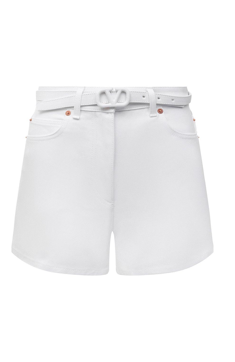 Женские джинсовые шорты VALENTINO белого цвета, арт. WB3DD11X6FK | Фото 1 (Женское Кросс-КТ: Шорты-одежда; Кросс-КТ: Деним; Длина Ж (юбки, платья, шорты): Мини; Материал внешний: Хлопок; Стили: Кэжуэл)
