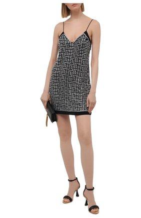 Женское платье BALMAIN черно-белого цвета, арт. VF0R2000/P084 | Фото 2