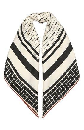 Женская шелковая шаль LORO PIANA черно-белого цвета, арт. FAL7965   Фото 1