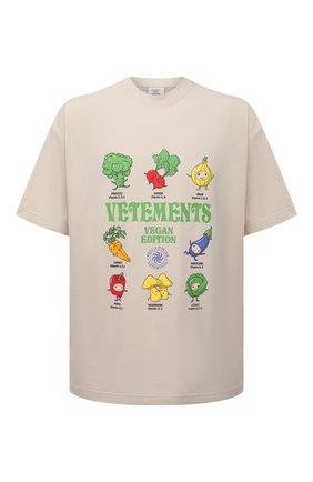 Женская хлопковая футболка VETEMENTS бежевого цвета, арт. UA52TR380W 1611/W | Фото 1