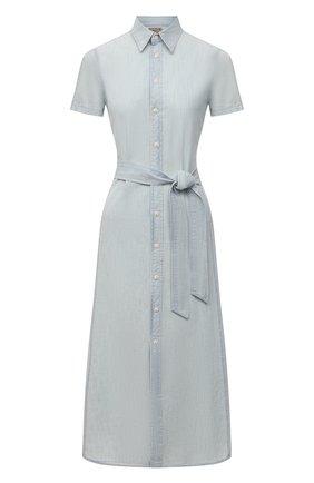 Женское хлопковое платье POLO RALPH LAUREN светло-голубого цвета, арт. 211838049   Фото 1 (Женское Кросс-КТ: Платье-одежда, платье-рубашка; Случай: Повседневный; Рукава: Короткие; Материал внешний: Хлопок; Длина Ж (юбки, платья, шорты): Миди; Стили: Кэжуэл)