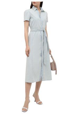 Женское хлопковое платье POLO RALPH LAUREN светло-голубого цвета, арт. 211838049   Фото 2 (Женское Кросс-КТ: Платье-одежда, платье-рубашка; Случай: Повседневный; Рукава: Короткие; Материал внешний: Хлопок; Длина Ж (юбки, платья, шорты): Миди; Стили: Кэжуэл)