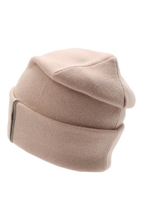 Женская кашемировая шапка BRUNELLO CUCINELLI светло-розового цвета, арт. M12163199P   Фото 2 (Материал: Кашемир, Шерсть)