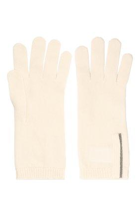 Женские кашемировые перчатки BRUNELLO CUCINELLI кремвого цвета, арт. M12147189P | Фото 2 (Материал: Шерсть, Кашемир)