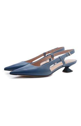 Женские кожаные туфли GIORGIO ARMANI голубого цвета, арт. X1E893/XM945   Фото 1
