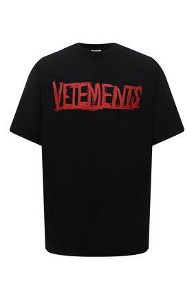 Мужская хлопковая футболка VETEMENTS черного цвета, арт. UA52TR580R 1610/M | Фото 1