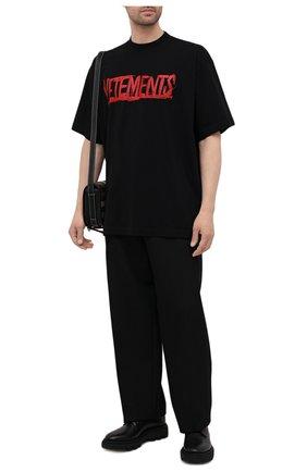 Мужская хлопковая футболка VETEMENTS черного цвета, арт. UA52TR580R 1610/M | Фото 2