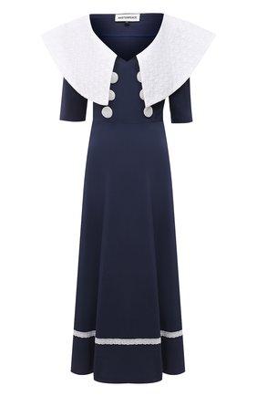 Женское хлопковое платье MASTERPEACE темно-синего цвета, арт. MP-R21-11   Фото 1 (Стили: Ретро; Случай: Повседневный; Материал внешний: Хлопок; Рукава: 3/4; Длина Ж (юбки, платья, шорты): Миди; Женское Кросс-КТ: Платье-одежда)