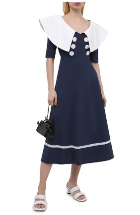 Женское хлопковое платье MASTERPEACE темно-синего цвета, арт. MP-R21-11   Фото 2 (Стили: Ретро; Случай: Повседневный; Материал внешний: Хлопок; Рукава: 3/4; Длина Ж (юбки, платья, шорты): Миди; Женское Кросс-КТ: Платье-одежда)
