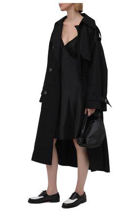 Женское шелковое платье LESYANEBO черного цвета, арт. SS21/Н-475A_1 | Фото 2 (Стили: Романтичный; Случай: Повседневный; Женское Кросс-КТ: Платье-одежда, Сарафаны; Материал внешний: Шелк; Длина Ж (юбки, платья, шорты): До колена)