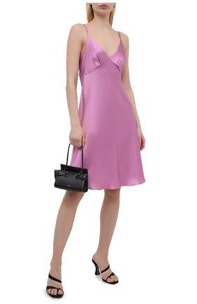 Женское шелковое платье LESYANEBO розового цвета, арт. SS21/Н-475A_2 | Фото 2 (Материал внешний: Шелк; Женское Кросс-КТ: Платье-одежда, Сарафаны; Длина Ж (юбки, платья, шорты): До колена; Случай: Повседневный; Стили: Романтичный)
