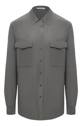 Женская шелковая рубашка BOSS темно-зеленого цвета, арт. 50447798   Фото 1