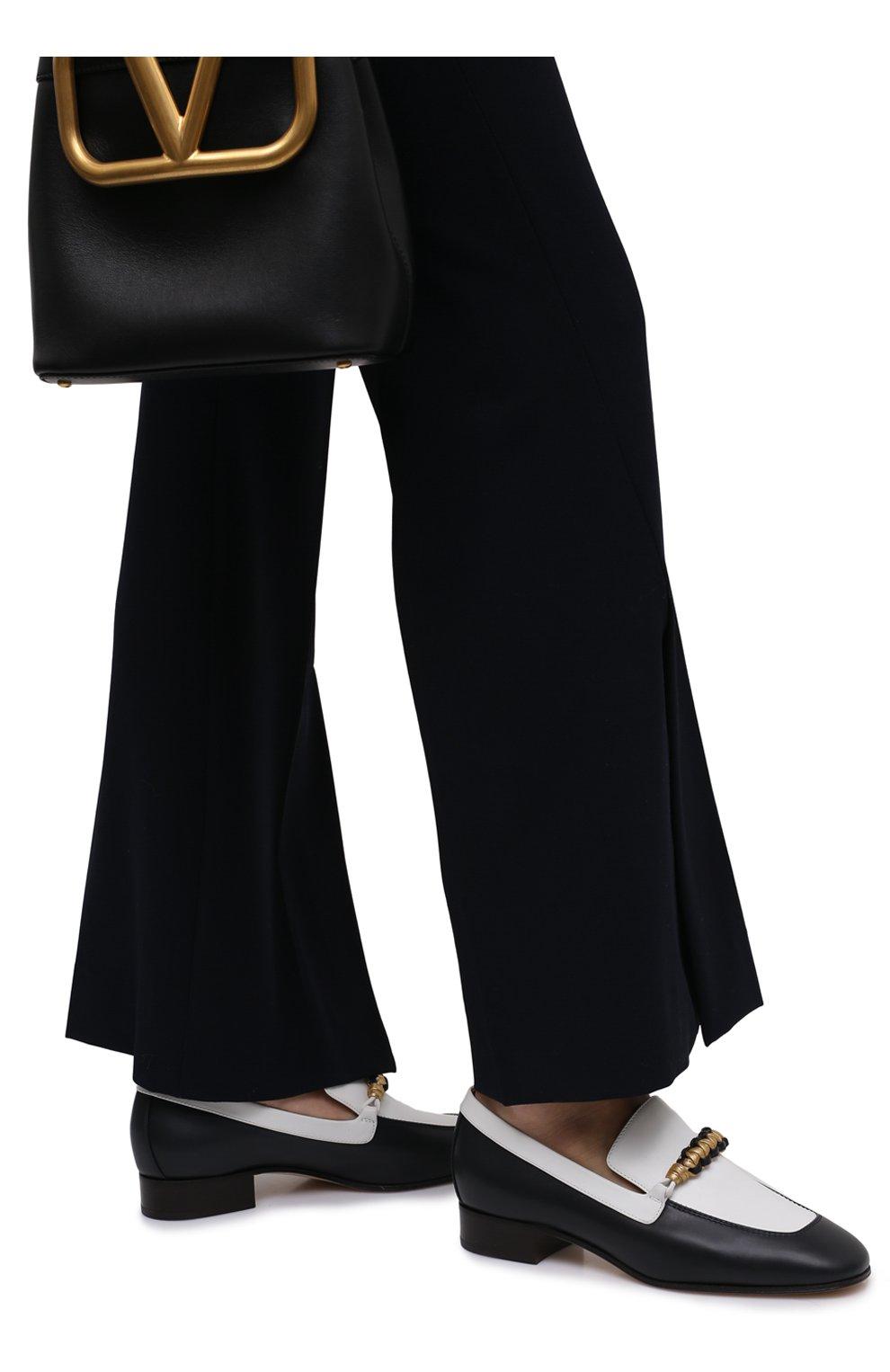 Женские кожаные лоферы LORO PIANA синего цвета, арт. FAL6202 | Фото 3