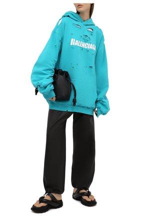 Женский хлопковое худи BALENCIAGA бирюзового цвета, арт. 659403/TKVB6 | Фото 2