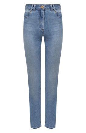 Женские джинсы BALMAIN голубого цвета, арт. VF0MF000/D114   Фото 1 (Материал внешний: Хлопок; Стили: Кэжуэл; Кросс-КТ: Деним; Длина (брюки, джинсы): Стандартные; Силуэт Ж (брюки и джинсы): Узкие)