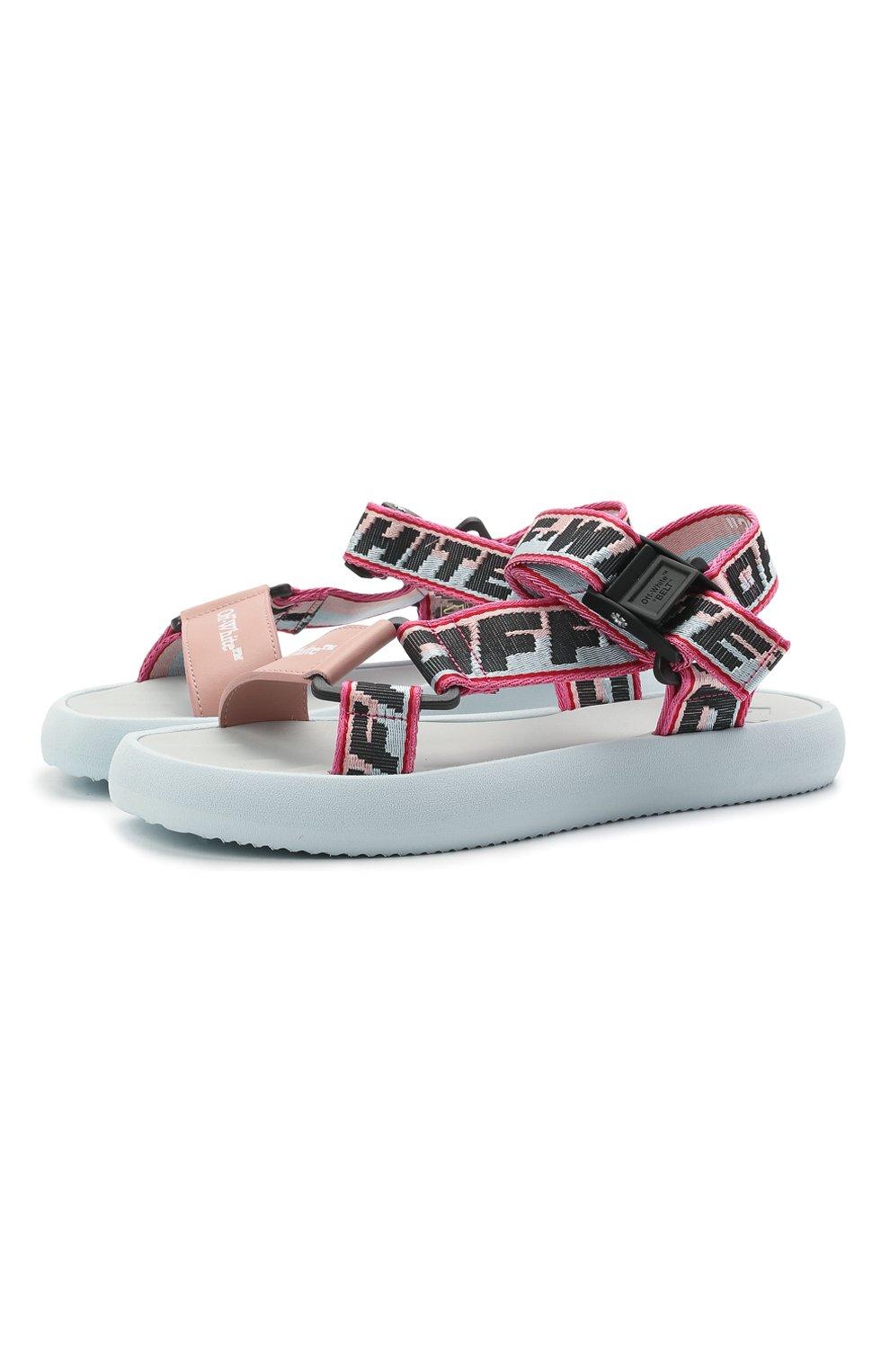 Женские текстильные сандалии OFF-WHITE розового цвета, арт. 0WIH007S21FAB0014230 | Фото 1 (Материал внешний: Текстиль; Подошва: Платформа)
