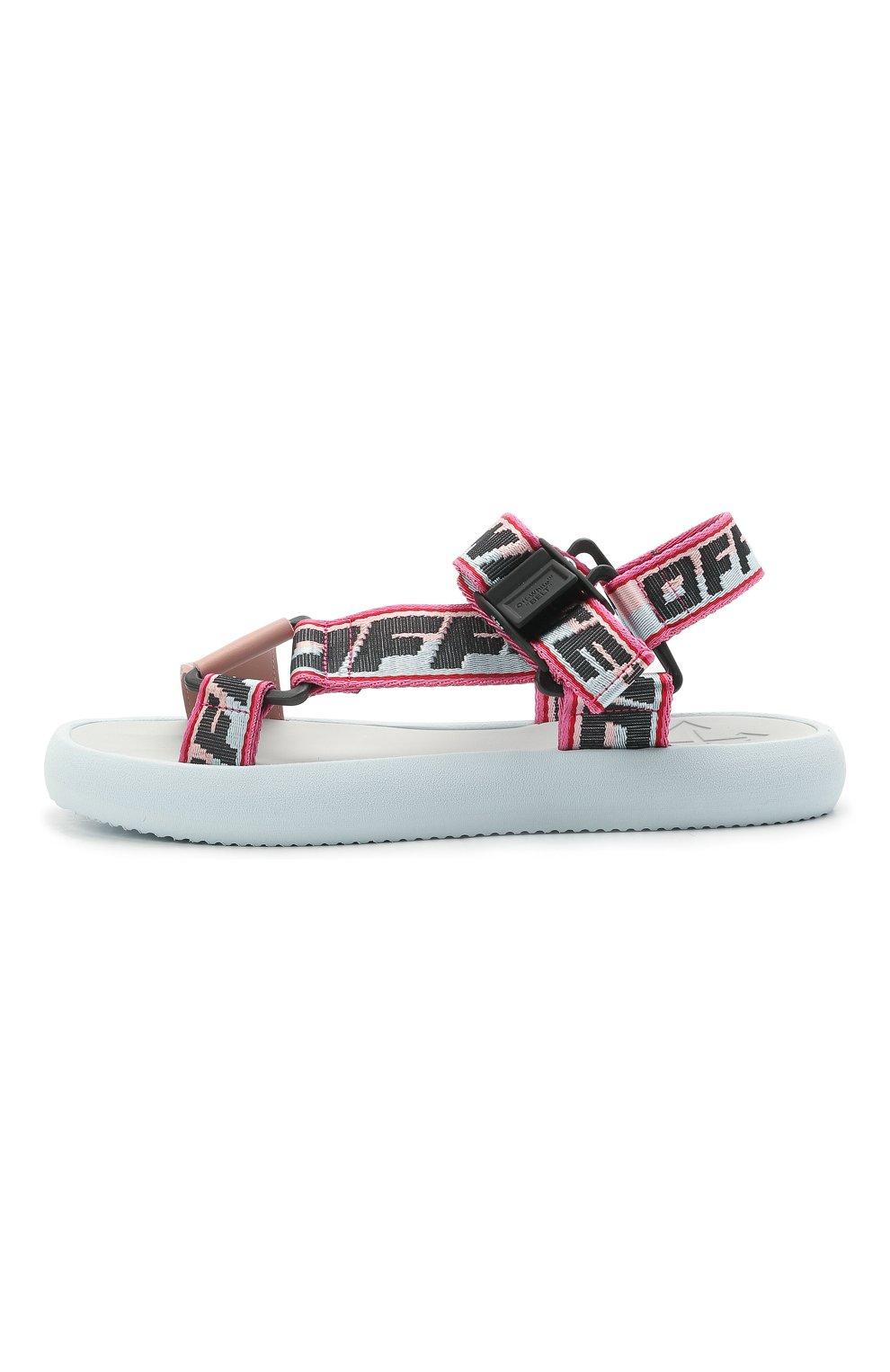Женские текстильные сандалии OFF-WHITE розового цвета, арт. 0WIH007S21FAB0014230 | Фото 3 (Материал внешний: Текстиль; Подошва: Платформа)
