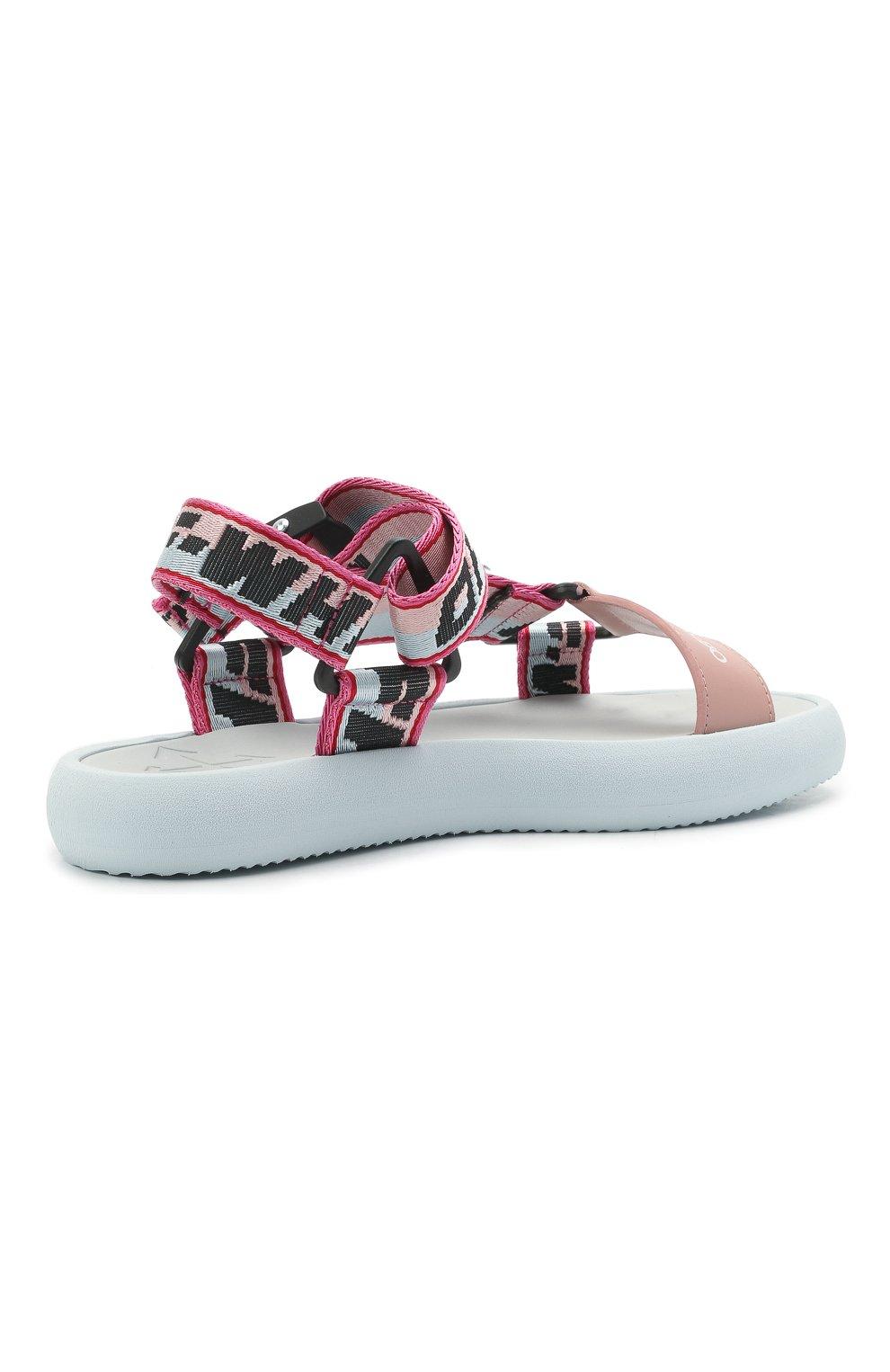 Женские текстильные сандалии OFF-WHITE розового цвета, арт. 0WIH007S21FAB0014230 | Фото 4 (Материал внешний: Текстиль; Подошва: Платформа)