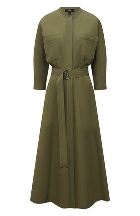 Женское хлопковое платье THEORY зеленого цвета, арт. L0304603 | Фото 1