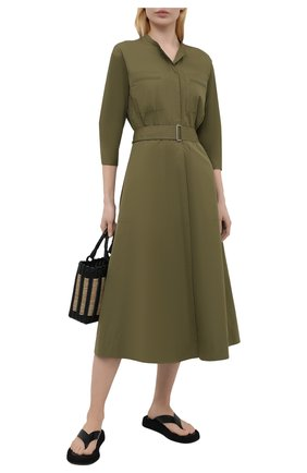 Женское хлопковое платье THEORY зеленого цвета, арт. L0304603 | Фото 2