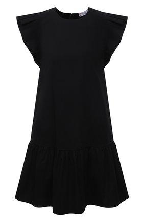 Женское хлопковое платье REDVALENTINO черного цвета, арт. VR0VAAD0/0VU | Фото 1