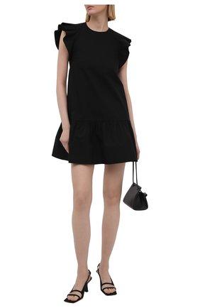 Женское хлопковое платье REDVALENTINO черного цвета, арт. VR0VAAD0/0VU | Фото 2