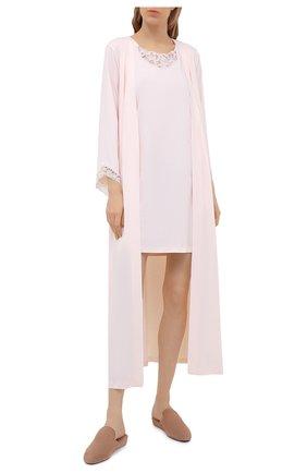Женский хлопковый халат HANRO светло-розового цвета, арт. 076834 | Фото 2